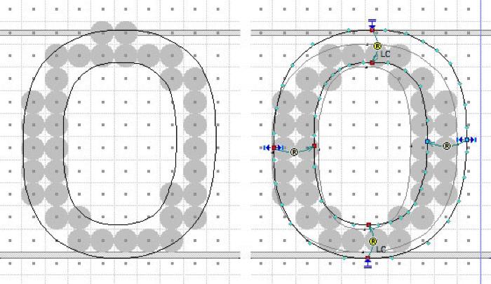 Grid de pixels representando a letra O