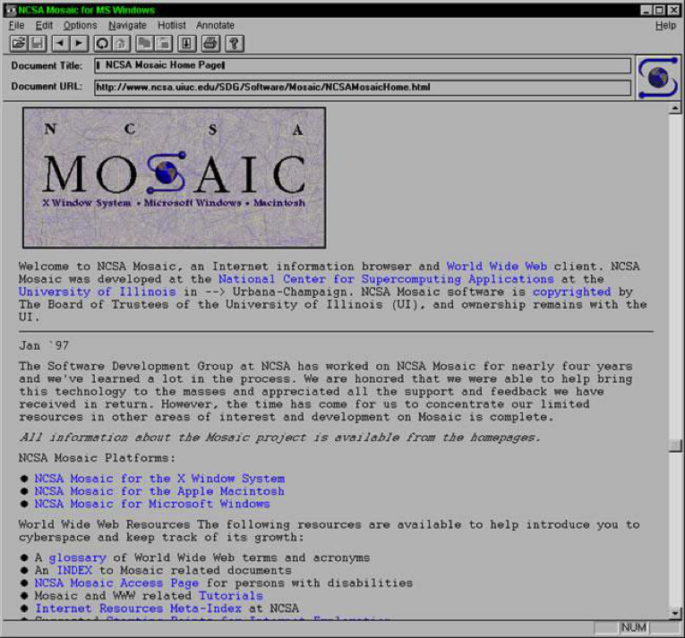 Printscreen da interface do NCSA Mosaic 1.0